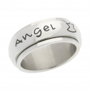 High Polished Stainless Steel Protected By An Angel Spinner Ring