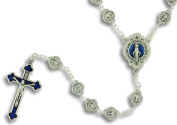 Miraculous Medal Rosary From Italy Blue Enamel Catholic Prayer Beads Blue Enamel Crucifix Women's
