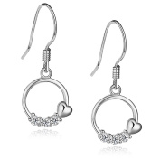Sterling Silver Rhodium Plated Cubic Zirconia Past Present Future and Heart Shaped Dangle Earrings