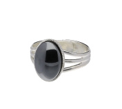 Handmade Celtic Tri Band Large Hematite Moonstone Pewter Ring