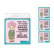 Tree-Free Greetings NC37776 Aunty Acid 4-Pack Artful Coaster Set, Swear Word Supply