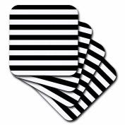 Janna Salak Designs Black and White Stripes Ceramic Tile Coaster, Set of 4