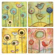 CoasterStone AS9967 Absorbent Coasters, 11cm , Soar by Kandy Myny, Set of 4