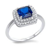 Sterling Silver 925 Clear Cubic Zirconia CZ Womens Princess Cut Sapphire Fashion Ring Sz 5-9
