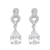Sterling Silver .925 CZ Cubic Zirconia Women's Tear Drop Pear Shape Fashion Hanging Drop Earrings