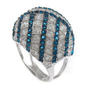 Stardust Bling Iced Blue & White CZ Stone Ladies Ring RL160