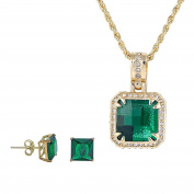 Square Princess Cut Green Emerald Simulated Stone w/ Clear cz Earrings Pendant Jewellery Set 60cm chain