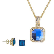 Square Princess Cut Blue Sapphire Simulated Stone w/ Clear cz Earrings Pendant Jewellery Set 60cm chain