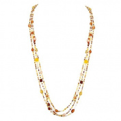 Fashion Yellow & Brown Mixed Seed Beaded Necklace Set Of 3Pcs. Women's Girl's Gift For Her