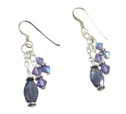 Faceted Oval Iolite Earrings - French Hooks, Sterling Silver