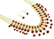 Fashion Jewellery ~Red Lucite Beads Multi Layers Goldtone Necklace and Earrings Set