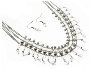 Fashion Jewellery ~Clear Lucite Beads Multi Layers Silvertone Necklace and Earrings Set
