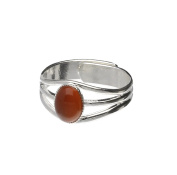 Handmade Celtic 3 Band Semi-Precious Cornelian Gemstone Pewter Ring