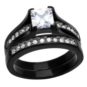 Princess Cut Cubic Zirconia CZ 1.25 Ct Black Stainless Steel Women Wedding Ring Bridal Sets TKJ