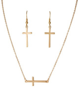 Gold Tone Matte Side Cross Chain Necklace with Matching Drop Earrings Rai-ns4983g