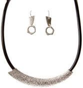 Silver Tone Foil Texture on Black Cord Necklace with Matching Drop Earrings Rai-ns113s