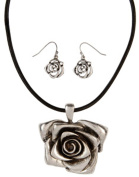 Silver Tone 3d Rose on Black Cord Necklace with Matching Drop Earrings Rai-qne3105s