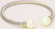 Silver Tone Cuff Bracelet with Mother of Pearls and Crystals Amm-5566wp
