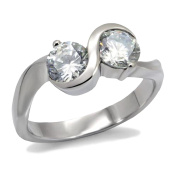 Deja Beauty Women's Silver Infinity Cubic Zirconia Stainless Steel Engagement Ring