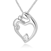 925 Sterling Silver Mother Mom and Daughter with Simulated White Cz Pendant Necklace 46cm for Women