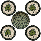 Earth Rugs 29-CB116S Shamrock Design Round Jute Basket with 4-Printed Coasters, 13cm