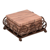 Thirstystone GG6-H50 Sandstone Coasters with Wrought Iron Holder Included, Multicolor