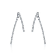 Platinum-Plated Sterling Silver Front Back 2 in 1 Cubic Zirconia Stud and Ear Jacket Earrings