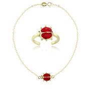 Hoops & Loops Gold Tone over Sterling Silver Enamel Ladybug Anklet and Toe Ring Set
