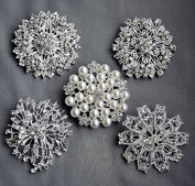 5 Rhinestone Brooch Pin Back X LARGE Pearl Crystal Wedding Brooch Bouquet Invitation Cake Decoration Hair Comb Shoe Clip BR213