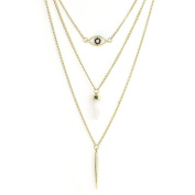 United Elegance - Multi-Strand Gold Tone Necklace with Stone & Crystal Accent