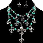Western Peak Western Layered Fleur De Lis Turquoise Chain Necklace with Earrings
