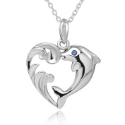 925 Sterling Silver Cute Dolphin with Simulated Blue Cz Heart Pendent Necklace 46cm for Women