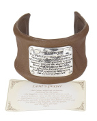 The Lord's Prayer Hammered Faux Leather Inspirational Cuff Bracelet with Prayer Card - Jewellery Nexus