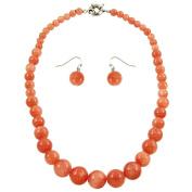 Falari Natural Gemstone Necklace Earring Set