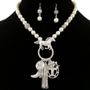 Western Peak Western Pearl Silver Tassel Necklace with Boots Horseshoe Longhorn Horse Charms Necklace with Earrings