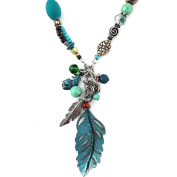 Western Peak Western Feather Charms Pendant Necklace with Earrings