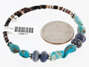 $80 Retail Tag Authentic Made by Charlene Little Navajo Navajo KINGMAN Turquoise Native American WRAP Bracelet