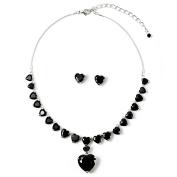 Silver Jet Heart Shape Cubic Zirconia Chain Necklace & Matching Stud Earrings Jewellery Set