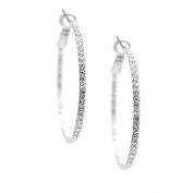 SD collection Crystal on Back Classic Hoop Earrings