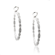 SD collection Crystal Water Drop Round Shape Hoop Earrings