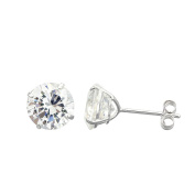 10K White Gold Round Cubic Zirconia (CZ) Double Basket Push Back Stud Earrings - 2 mm to 10 mm