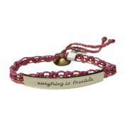 Everything is Possible Woven Wakami Quote Bracelet, Mixed Metals, Pink, Open Weave