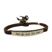Let Go and Let God Adjustable Brown Leather Bracelet with Mixed Metals Stamped Plate