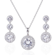 Wordless Love Gorgeous Round Halo Cubic Zirconia Wedding Earrings and Pendant Necklace Jewellery Set
