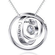 "Sterling Silver ""Moon I Love You Mum Thank You for All You Do""pendant Necklace 46cm"