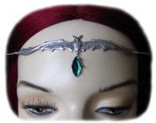 Vampire Bat Headpiece w/ Emerald Green Stone