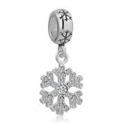 LovelyCharms 925 Sterling Silver Snowflake Dangle Beads Sale Fit Pandora Bracelets