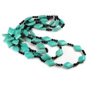 NY6design Multi Strands Blue Magnesite Turquoise & Flower Pendant, Onyx Silver Long Necklace N14071143i