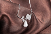 """Silver-Tone 925 Sterling Silver 9mm X 7mm Simulated Pearl Leaf and Plant with Droplets Pattern Zirconia Cubic Inlay Pendant Necklace 17"""" Chain Jewellery"""