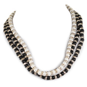 3 Strands Shell Pearl & Crystal Spacers Necklace w/Silver Tone Clasp 44cm - 50cm N16021631808d